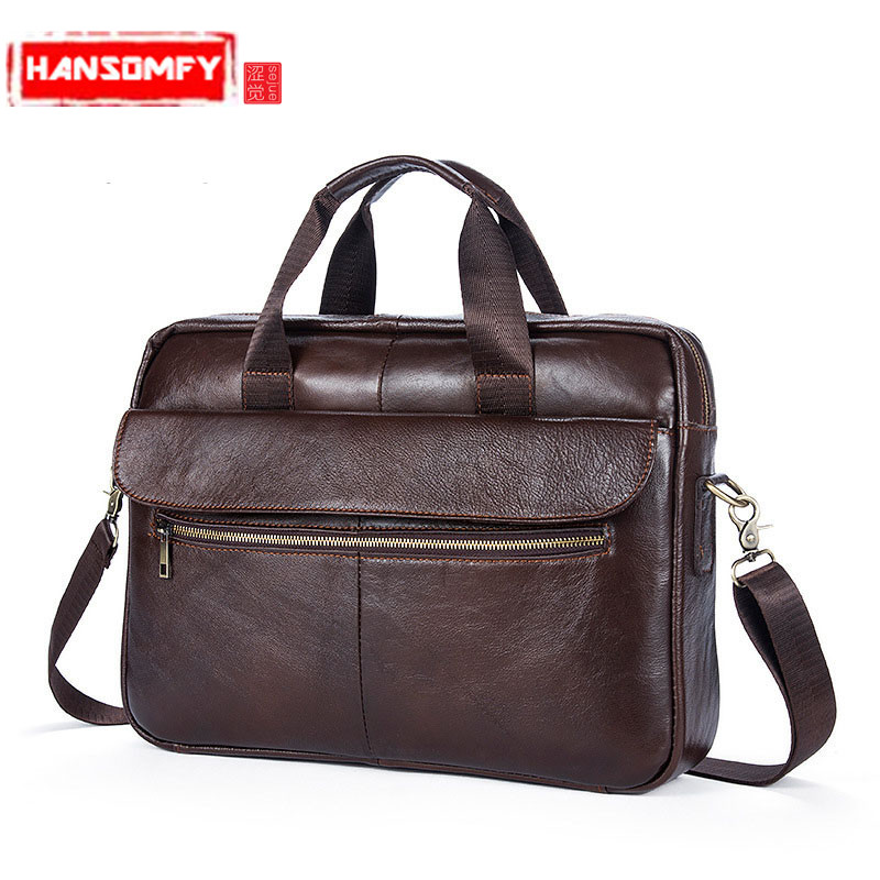 2018 New Men Bag Leather Briefcases For Lawyers Shoulder Bags Genuine Leather Male Messenger Bags Handbags Men Office Bag