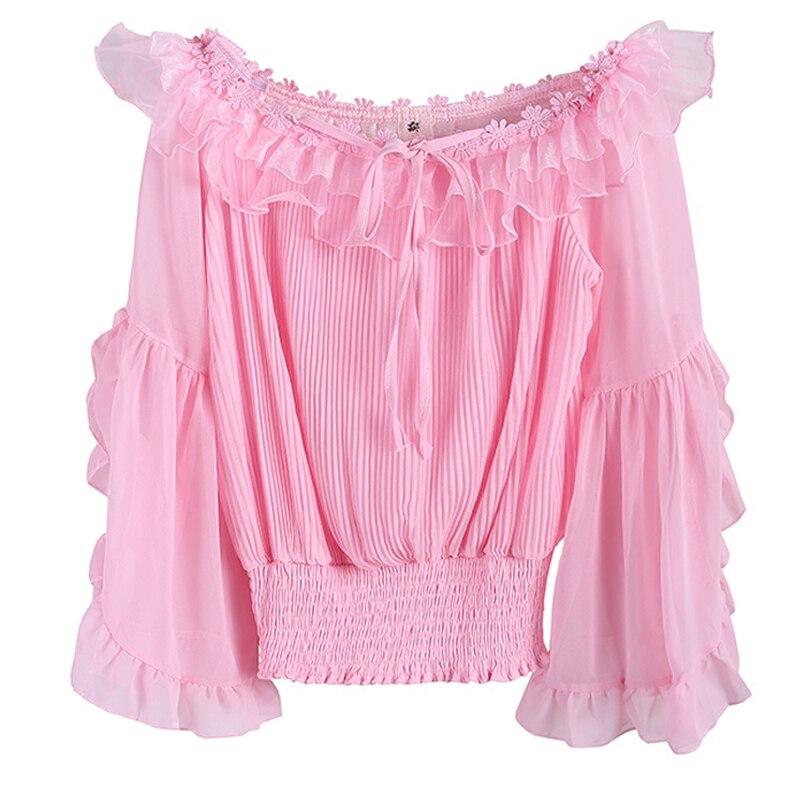 Femmes Marque En Blusa Mousseline Nouvelle Slash Blouses Tops Mode De Blusas Vetement Soie Chemises Designer Rose Cou Femme Automne Manches rx8rSf