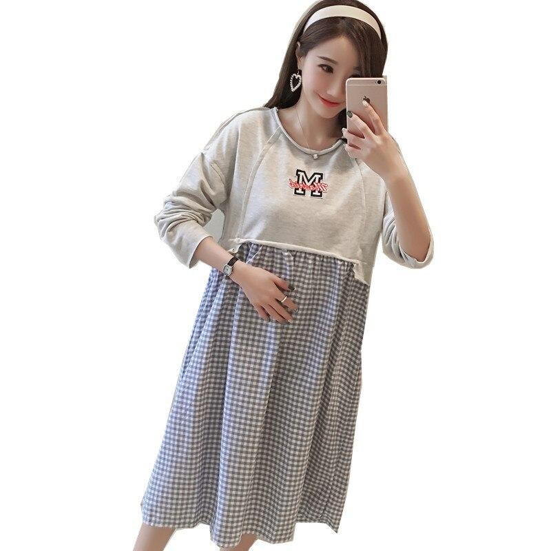 Cotton Maternity Dress 2018 Round Neck Stripe Splicing Dress Pregnancy Women Clothing Long Sleeve Pregnant Woman Dress C337