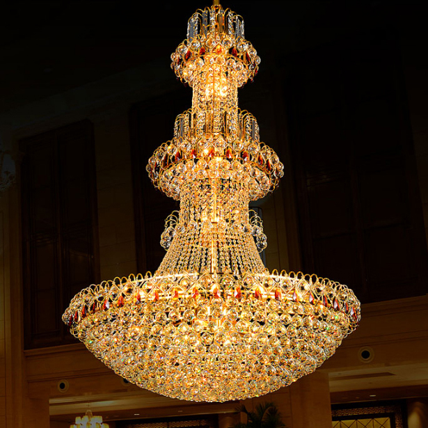 Gold Crystal Chandeliers Lights Fixture LED Lamp Modern Crystal Chandelier Droplight Hotel Hotel Club Home Lighting AC90V-260V