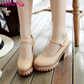VALLKIN 2017 Women Pumps Square High Heel PU T-strap Round Toe Platform Summer Spring Women Shoes Ladies Dating Shoes Size 34-43
