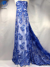 Beautifical blue lace fabrics nigerian embroidered net fabric with same beads 2018 high quality 5yards 26N84