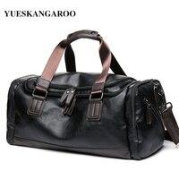 YUES KANGAROO Brand High Quality Leather Men S Travel Laptop Bags Black Bucket Handbags Shoulder Bag