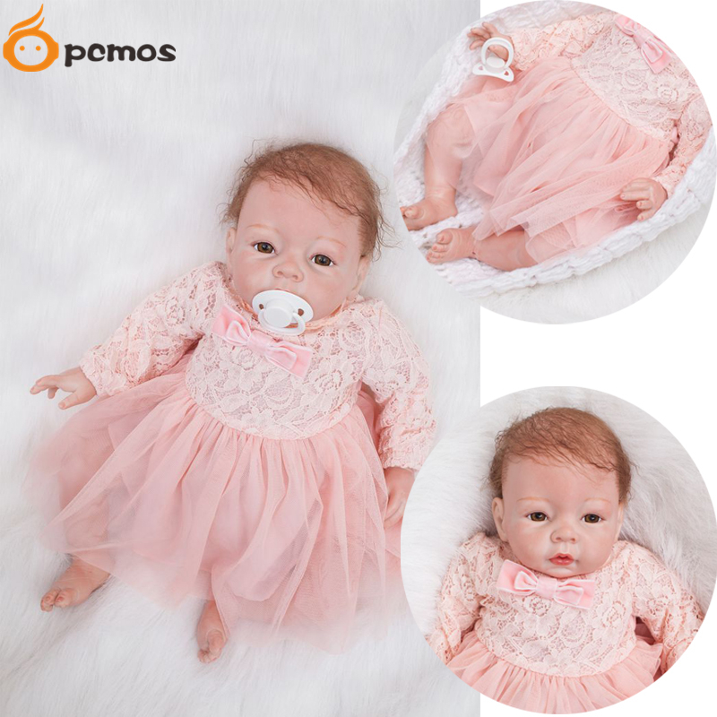 [PCMOS] 20 Soft Touch Vinyl Handmade Reborn Baby Dolls Kids Toys Wear Lace Long Sleeve Dress Pacifier Magnet Xmas Gift 16092417 fumat stained glass pendant lamp art butterfly glass shade lamps living room bed room multi color indoor lamp led pendant lights