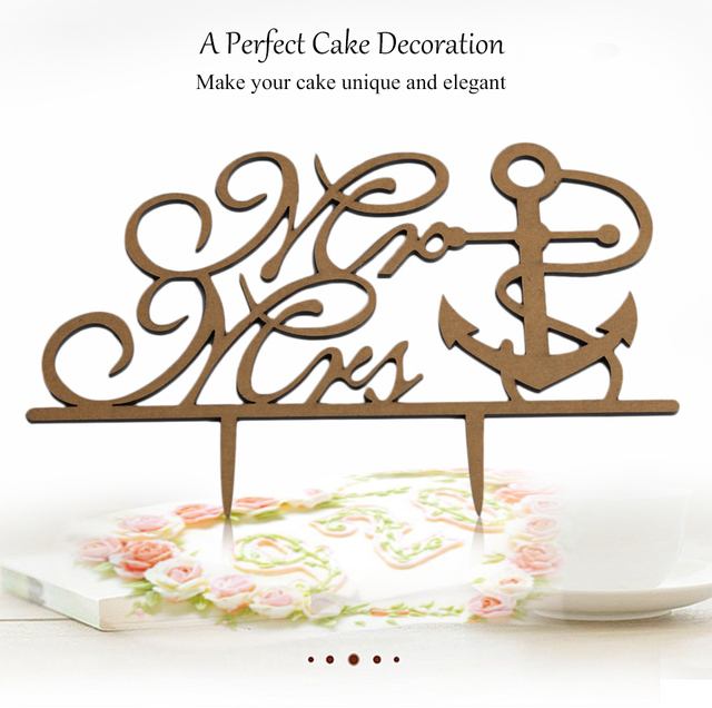 New Creative Birthday Party Decorations Kids Cake Topper Mr Mrs Boat Anchor Shape Wedding Inserted Card