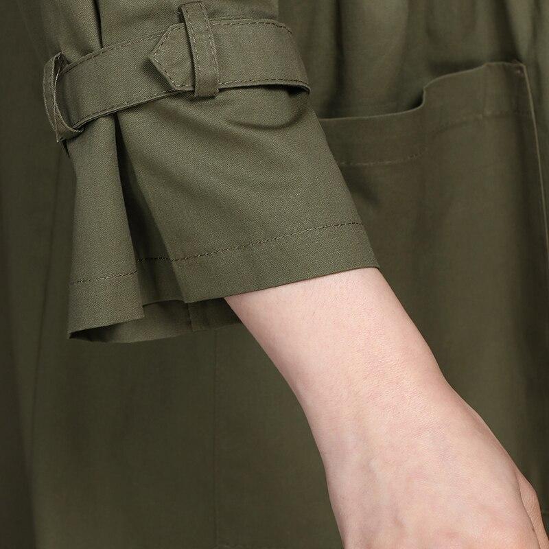 E Militare Cappotto Primavera Fashion Trincea Dell'esercito Solid Gira Autunno New Femme Il Outwear giù Nero Lungo Breve verde Collare Verde Donne Delle Nero Allentato z8qfwnxF