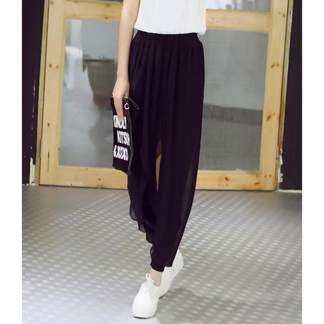 summer 2017 fashion ladies casual loose chiffon harem pants women pants black pantalon femme plus size hot sale sarouel femme