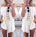 The New Spring Women Sexy Lace Stitching Pocket Piece Shorts Jumpsuits Rompers off the Shoulder