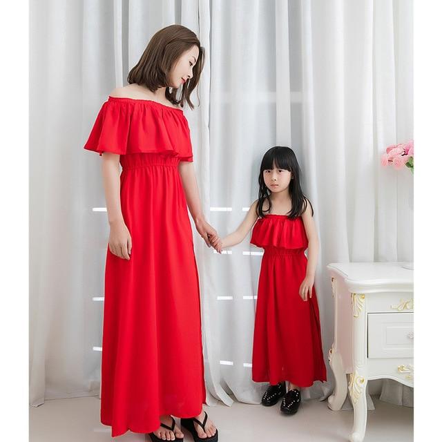 d4666069aa 2017 new parent-child wear mother-daughter dress chiffon mother and girl dress  beach resort beach dress Maldives was thin