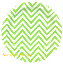 24pcs/lot 9inch Apple Green Chevron Theme Party Dessert Paper Plates Cupcake Tableware Party Supplies