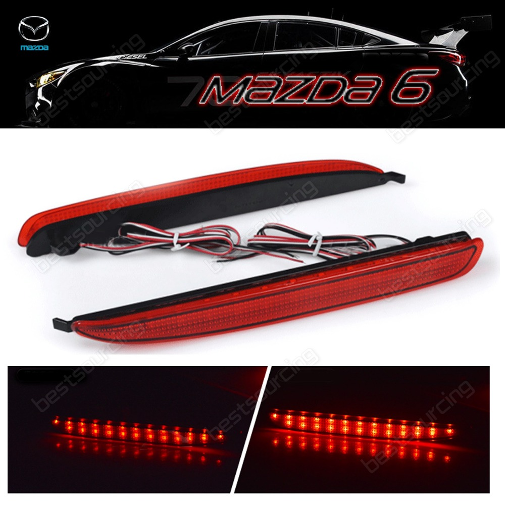 2x Mazda 6 Red Lens Bumper Reflector LED Tail Brake Light 03 08 Atenza GG Mazda6(CA170)