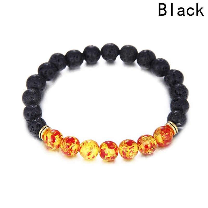Nowy tryb gorąca sprzedaży Ambers lawa kamień naturalny kamień koralik bransoletka Chakra kamień biżuteria kobiety mężczyźni joga Stretch bransoletka prezenty