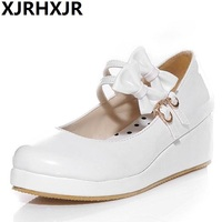 XJRHXJR Japanese School Shoes Student Uniform Suits Shoes Girl Lolita Shoes Cosplay Shoes Pateng Leather Platform Flats Footwear