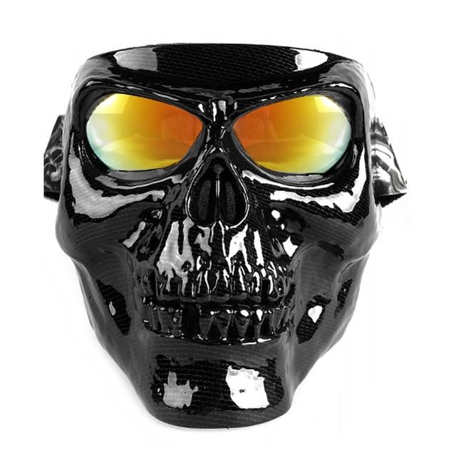 Motorcycle Glasses Helmet Mask Skull Vintage Detachable Modular Goggles Mouth Filter Moto Motocross