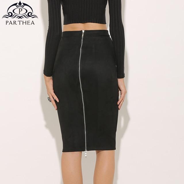 ee3249966d1 Parthea Sexy Faux Suede Skirt Women High Waist Pencil Skirt Back Zipper Midi  Skirt Summer Spring Bodycon Leather Skirts Saia New