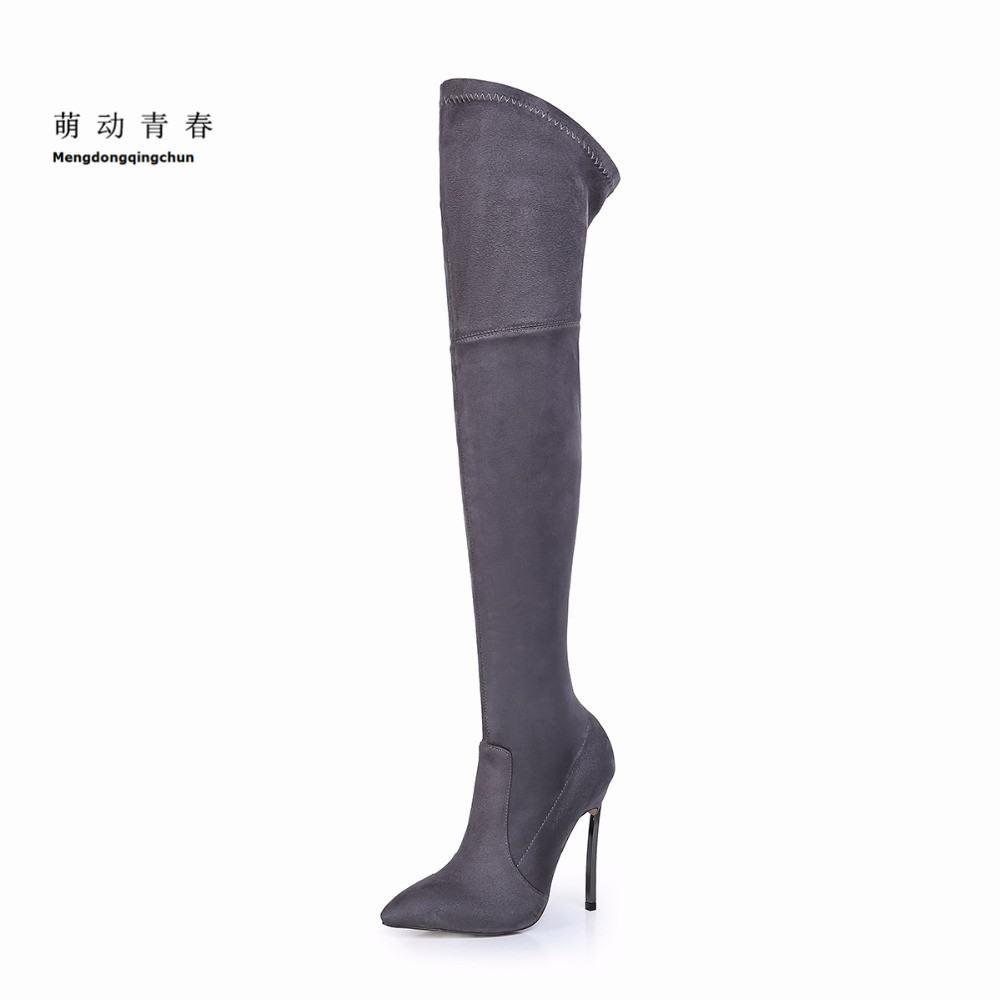 2018 Fashion Women Boots Thin Heels Pointed Toe Party Shoes Over Knee High Boots Winter Bootie Stretch Cloth Botas Sapatos