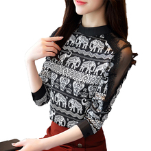 MVJT DAIR women lace patchwork shirt long sleeves mexican
