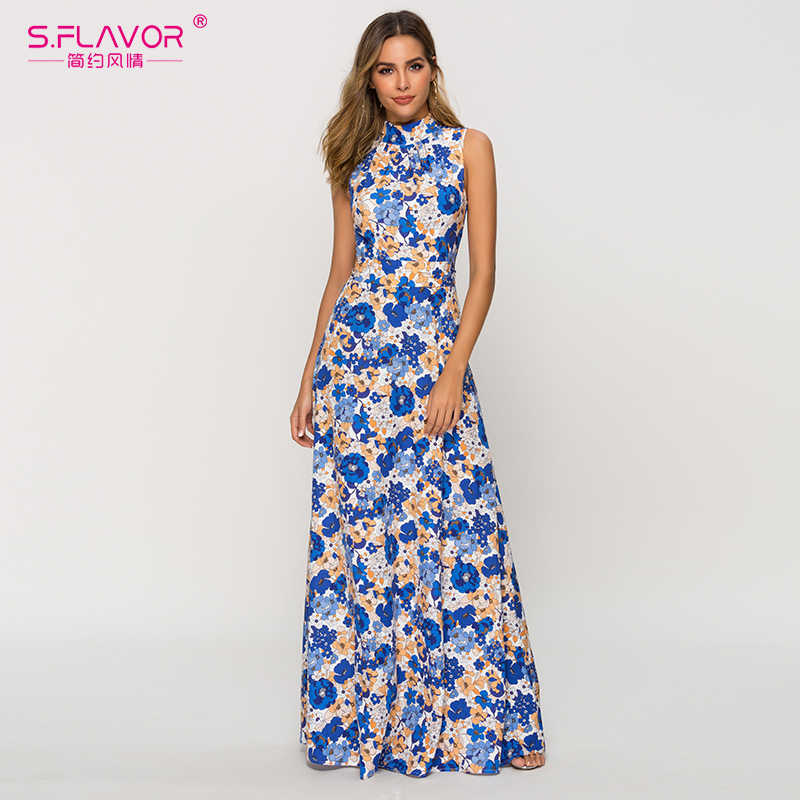 S.FLAVOR mujeres Bohemian vestido de verano 2020 de moda sin mangas colorida impresión largo Maxi vestido Vestidos playa Boho Mujer