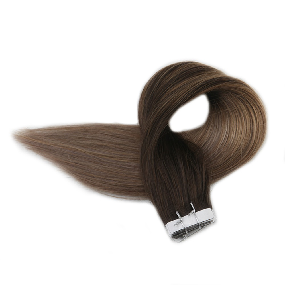 Full Shine Remy Tape In Hair Extensions Color #2 Darkest Brown Fading To #6 Chestnut Brown To #18 Ash Blonde 40 Pieces Tape Ins