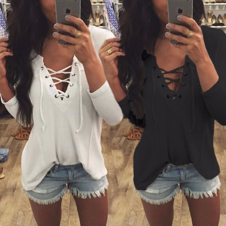 Blause 2016 Women Turn Down Collar Chiffon Shirt Sexy Deep V Front Lace Up Long Sleeve Blouse Casual Tops Plus Size S-XL