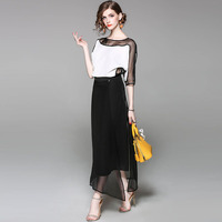 New Year S Spring Women Coat Long Sleeve Women S Casual Round Chiffon Black White Stitching