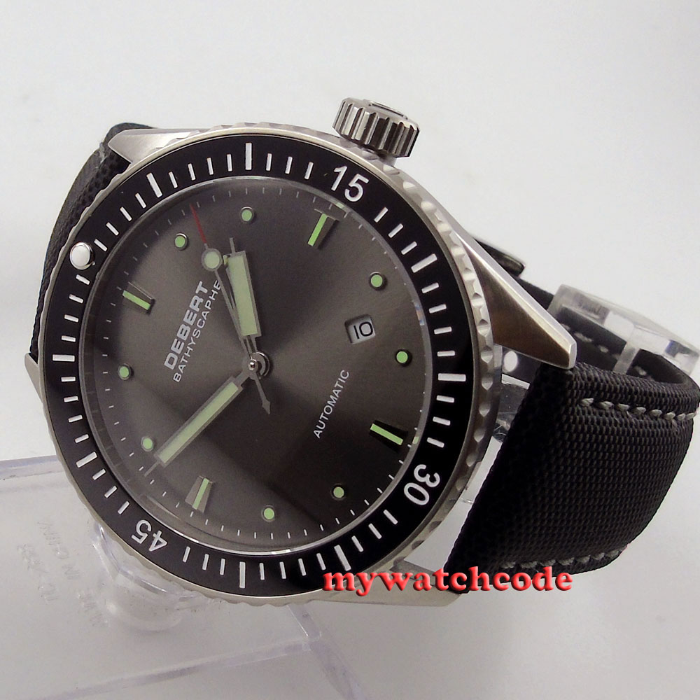 43mm Debert gray dial ceramic bezel Sapphire miyota Automatic mens Watch D35 43mm debert balck ceramic dial bezel sapphire miyota 821a automatic mens watch