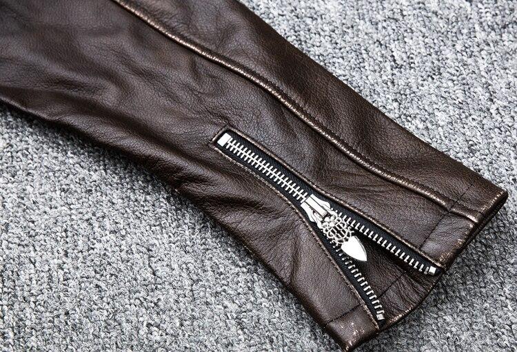 HTB1ClODKf5TBuNjSspmq6yDRVXaq MAPLESTEED Brown Distressed Motorcycle Jacket Men 100% Calf Skin Classic Slim Leather Jacket Man Moto Biker Coat Winter 5XL M190