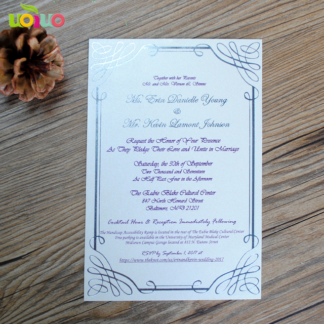 metallic printing insert card,gold stamp rsvp card,hot foil menu