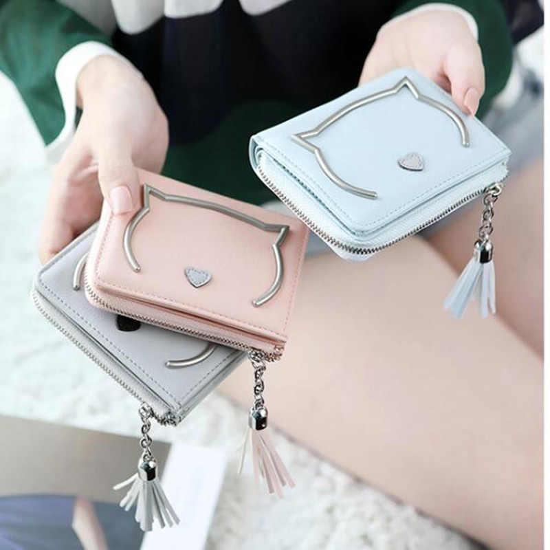 cfaeb3cda85 Korean Cute Cat Anime Leather Trifold Slim Mini Wallet Women Small Clutch  Female Purse Coin Card Holder Dollar Bag