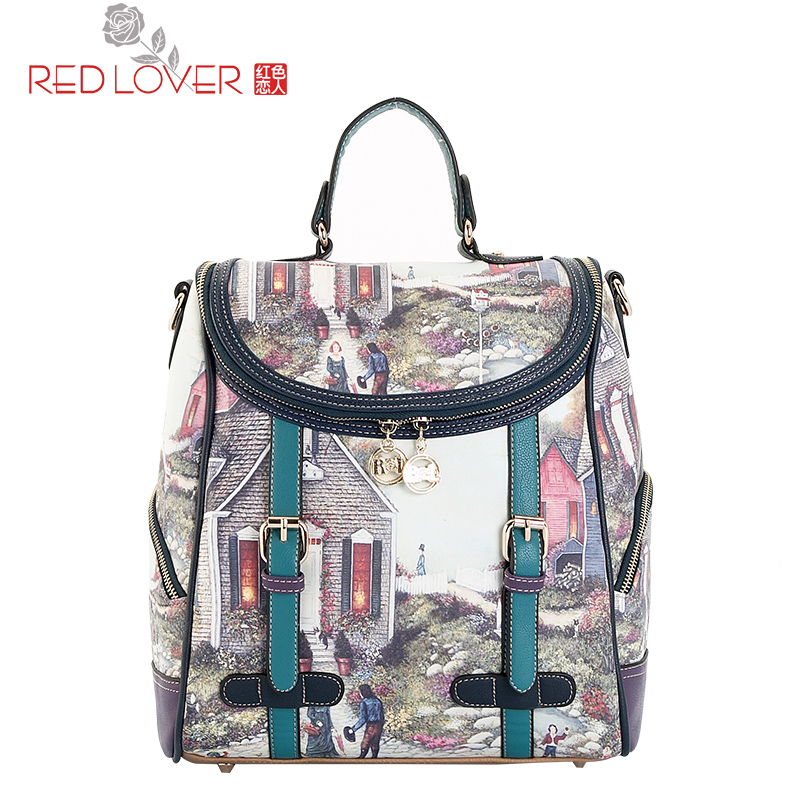 ФОТО Exquisite Fashion Cute Small Student School Bag Teenagers Backpack Women New Print Sweet Personalized Women Shoulder Bag Campus