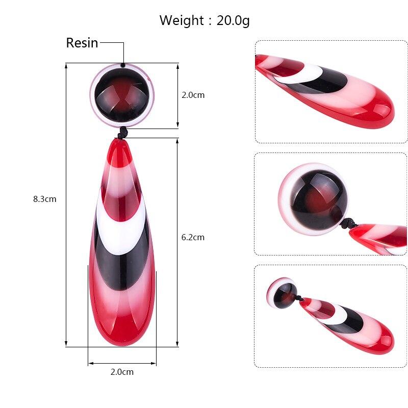 GuanLong Colorful Stripe Resin Teardrop Dangle Earrings Jewellery For Drop Shipping Wholesale 4 Colors