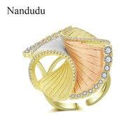 Nandudu New Arrival AAA Cubic Zircon Flower Ring for Women Three Tones Gold Open Cuff CZ Rings Elegant Jewelry Bijouterie R2038