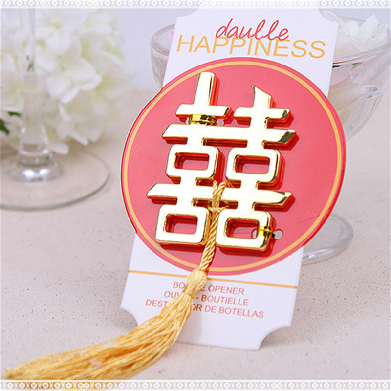 100pcs/lot Chinese Asian Themed Double Happiness Bottle Opener Wedding Party Favors Wedding Giveaways Creative Opener CT0077