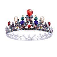 Colorful Crystals Full Round Big Tiara Crown Rhinestone Bridal Crown Headbands Wedding Bridal Hair Jewelry Accessories Headpiece