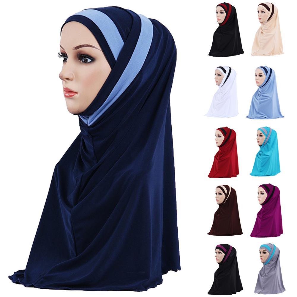2 Piece Muslim Hijab Islamic Women Under Scarf Bone Bonnet Ninja Head Cover Inner Cap Amira Ramadan Shayla Prayer Hat Fashion