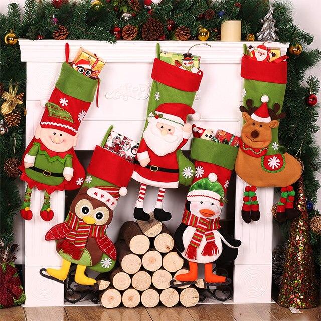 christmas drop ornament santa claus elk owl penguin christmas stocking boots christmas tree pendant home party