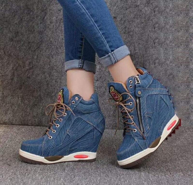 Nouvelle De Confortable Toile Talons Chaussures D'été Et Élégant Kncoka Denim Femmes Bleu Compensés Simples Simple Avec SGqzUpMV
