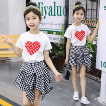 hot deal buy girls clothing sets new 2019 cotton children's suit o-neck short sleeve baby tshirt+ skirt pants 3-12 baby girl clothes