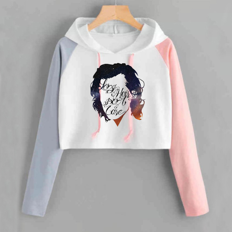 Harry Styles Crop Top Hoodie Women Hip Hop One Direction 1D Sweatshirt Shortened Casual Long Sleeve Pink Sweat Femme Tracksuit