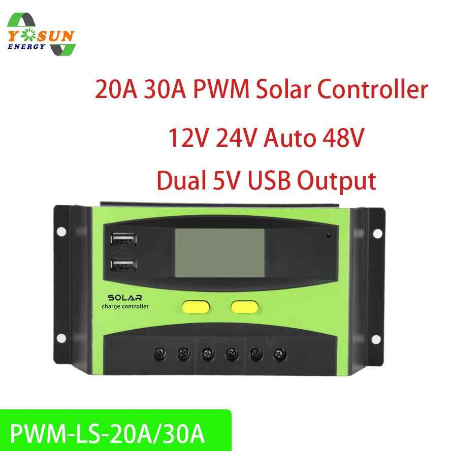 20A 30A PWM Solar Controller 12V/24V Auto And 48V Solar Charge Controller Rregulator With LCD Dual USB Output Regulateur