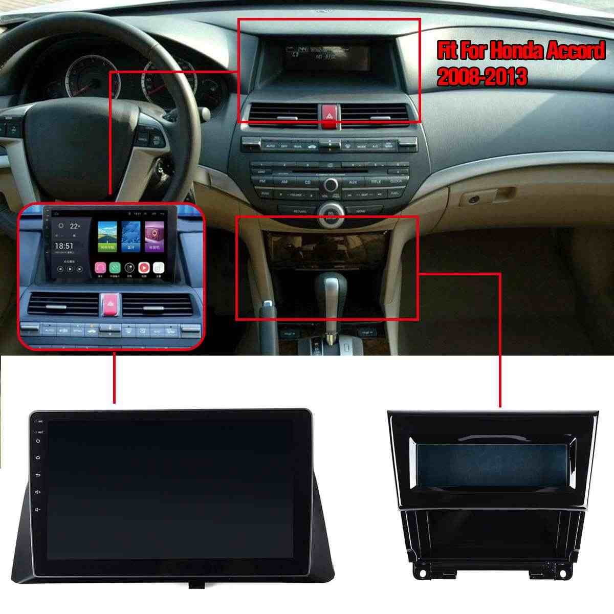 """Android 8.0/8.1 Quad Cores 10.2 """"Touch Screen Auto HD MP5 Speler BT FM GPS WIFI Auto Multimedia speler voor Honda Accord 2008"""