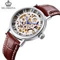 MG.Orkina Fashion Men's Skeleton Watch Handwind Mechanical Watches Wristwatch Gifts Box Free Ship
