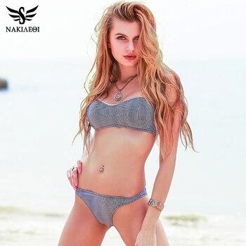 NAKIAEOI 2018 Sexy Mini Micro Bikinis Women Swimsuit Push Up Swimwear Bandeau Bikini Set Striped Brazilian Beach Bathing Suits
