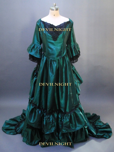 Green Gothic Victorian Antoinette Style Fantasy Gown  Victorian Dress