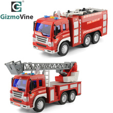 2pcs Literal Fire Truck Toys Set 1/16 Scale Fighting Car Educational Traffic for Children Inertial For Baby Kids