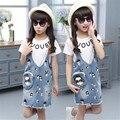Meninas de verão Conjuntos de Roupas de Algodão Crianças Marca de Vestuário de Moda Pullover T-Shirt + Vestido Jeans 2 Pcs Roupas de Bebê Meninas 3-14Y