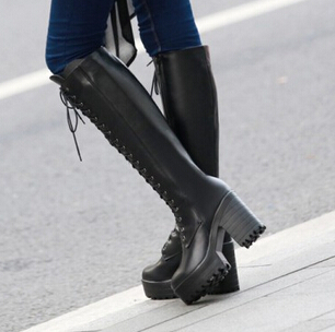 Compare Prices on Knee Length High Heel Leather Boots- Online ...