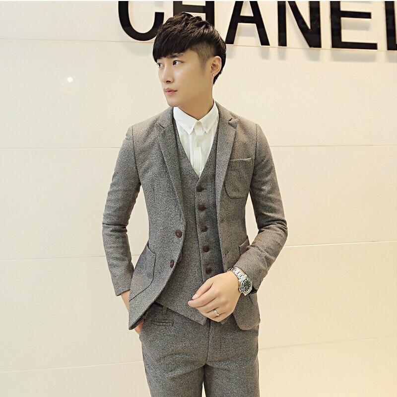 Top Men Suit Pieces New Arrival Autumn Thick Wedding Dress For Korean Slim Fit With Dresses Mens