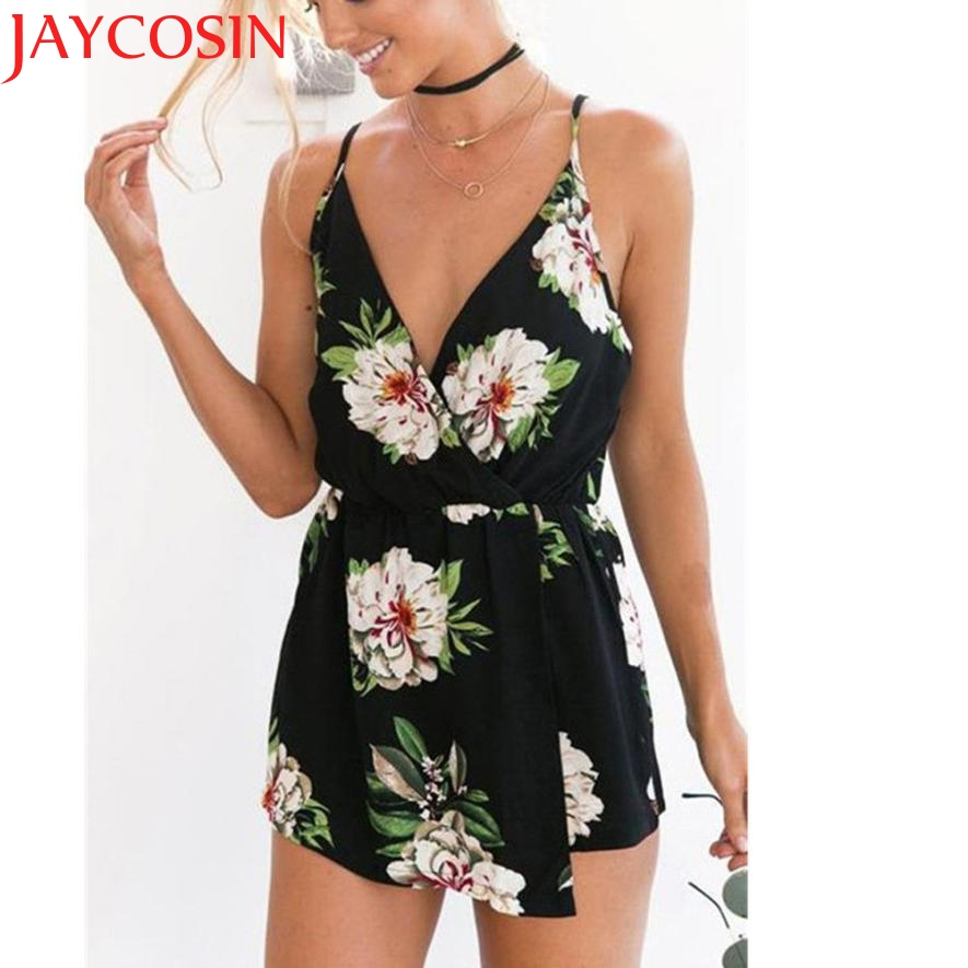 2020 New Hot Fashion Sexy Women V-Neck Floral Print Sleeveless Playsuit Party Beach Jumpsuit Romper Z713