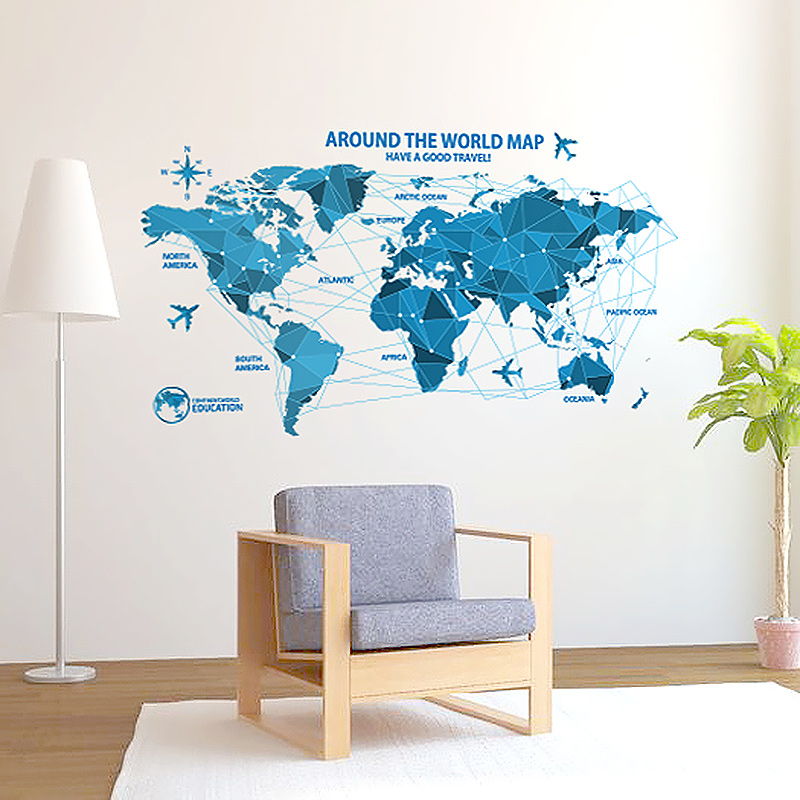 Modern World Map Poster Blue Color Paper Plane Compass Globe Wall - Floor to ceiling world map